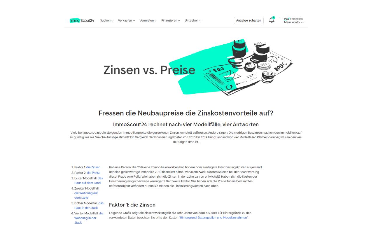 Immoscout Referenz Zinsen vs Preise